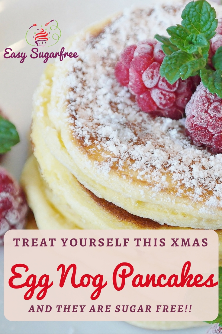 Sugar Free Eggnog Pancakes with cream
