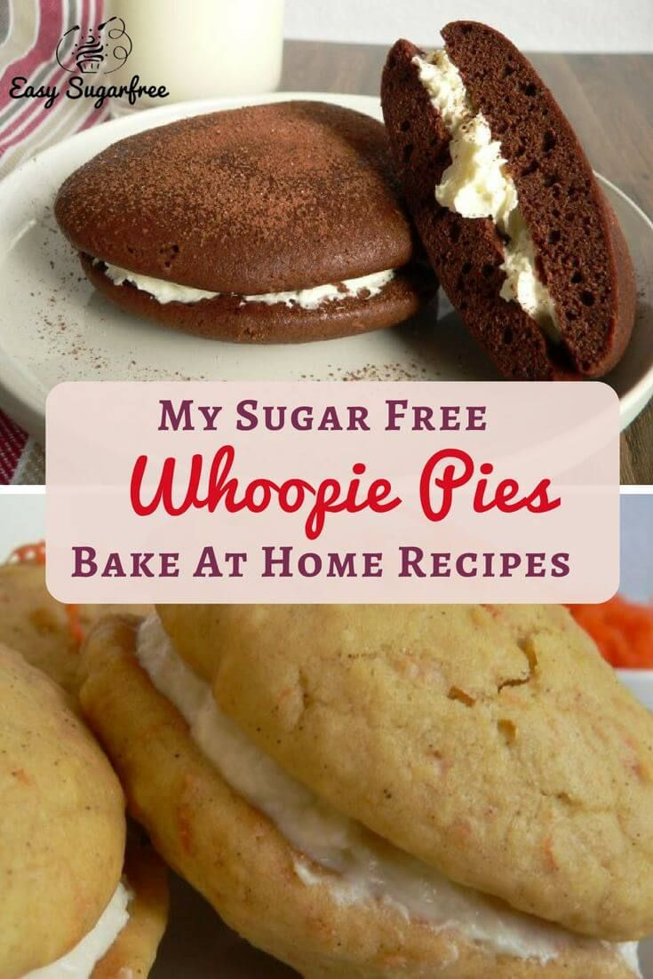sugar free cake recipe for whoopie pies. Carrot cake whoopie pies and chocolate whoopie pies to bake at home. Delicious and light!