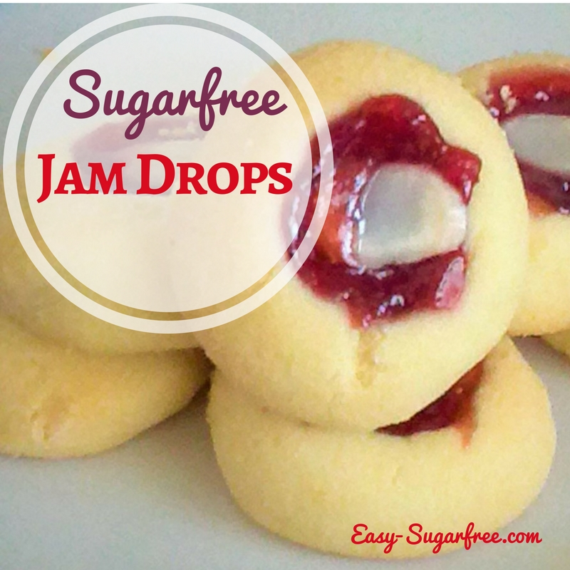 Delightful little jam drops shortbread made at home with no sugar.
